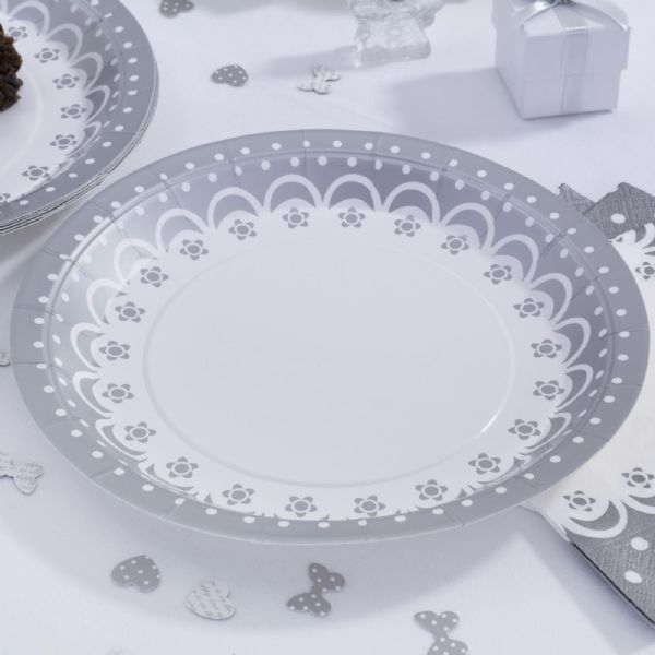 Chic Boutique Paper Plates - White & Silver (8)